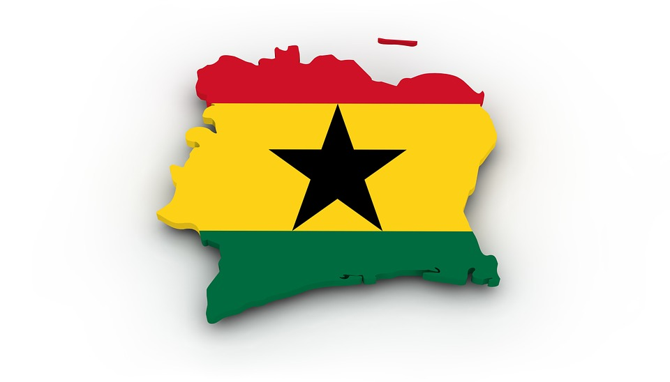 Flag of the country of Ghana, Africa